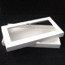 DL White Invitation Boxes With Aperture Lid